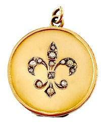 Antique Fleur de Lys Round Locket
