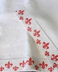 Antique French Linen Show Towel Fleur de Lis Red