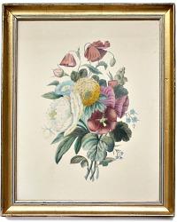 Antique Framed Floral Botanical Cottage Lithograph Hand Colored