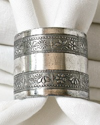 Antique Quadruple Plate Floral Napkin Ring