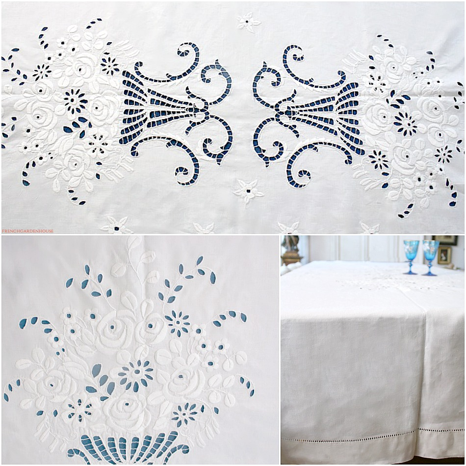 Antique Linen Banquet Tablecloth Whitework Hand Embroidered Rose Urns