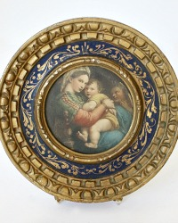Early Florentine Gilt Gesso Frame with Madonna & Child Print
