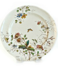 19th Century Floribel Polychrome Ironstone Luncheon Plate Set of 8