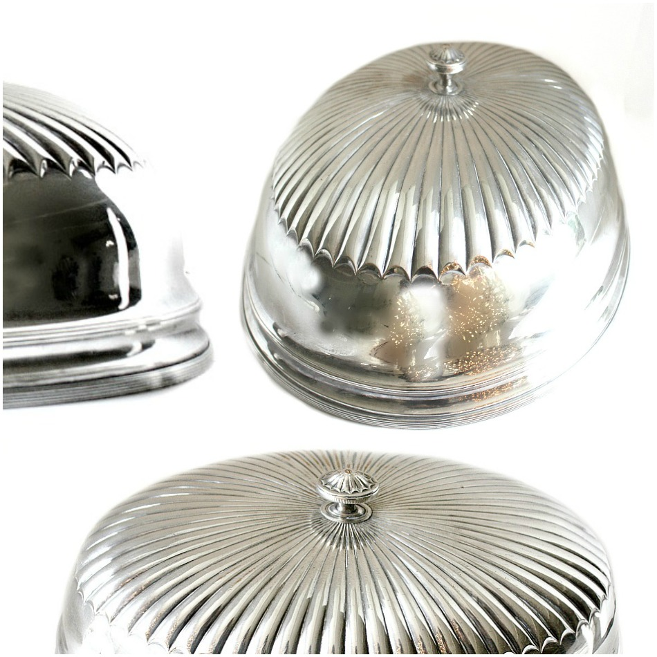 Large Antique Estate English Silver Plate Large Food Dome Cover