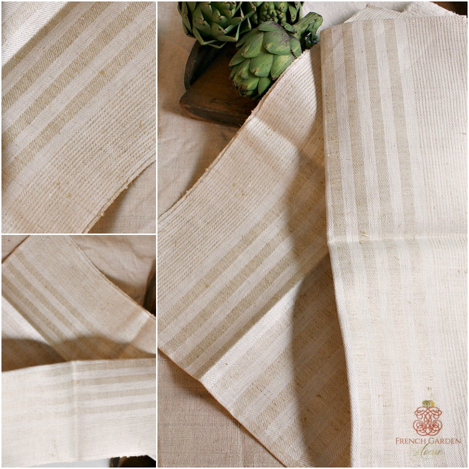 Antique French Hand Woven Flax Linen Towel Stripe