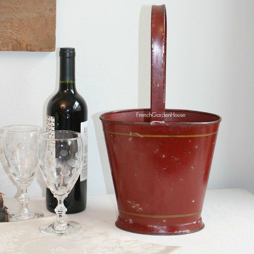 Antique French Tole Bordeaux Red Wine Basket