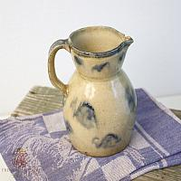 Antique French Country Hand Painted Pottery Pitcher