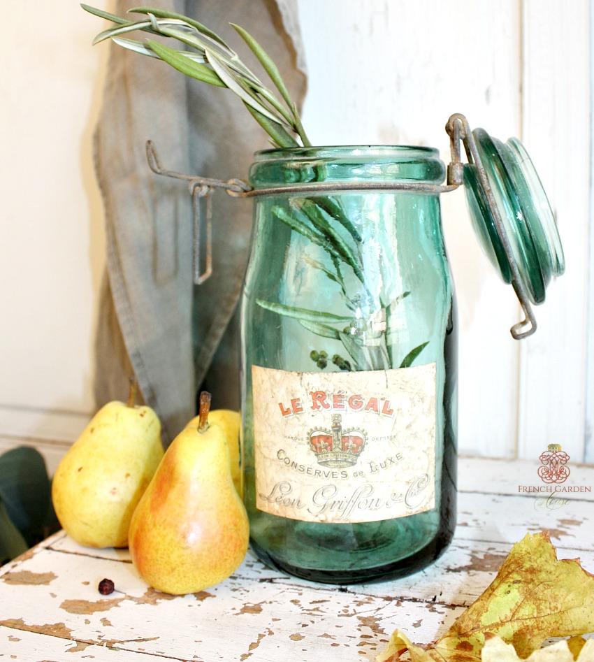 Vintage French Green Glass Storage Jar Le Regal