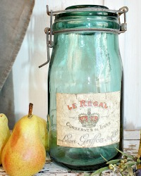 Vintage French Green Glass Storage Jar Le Regal