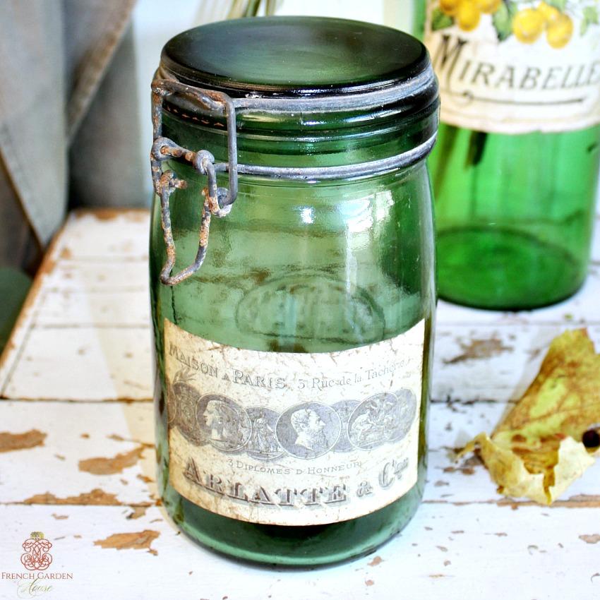French Dark Green Glass Canning Jar Arlatte et Cie