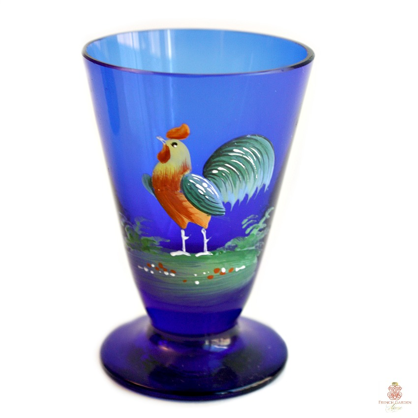 French Country Rooster Blue Hand Enameled Cordial Glasses Set of 6