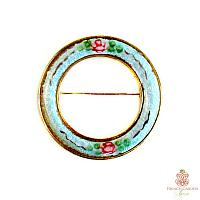 Vintage Guilloche Circle Pin French Blue with Roses