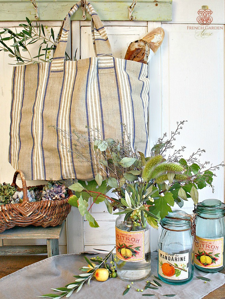 French Country Linen Market Tote Bag