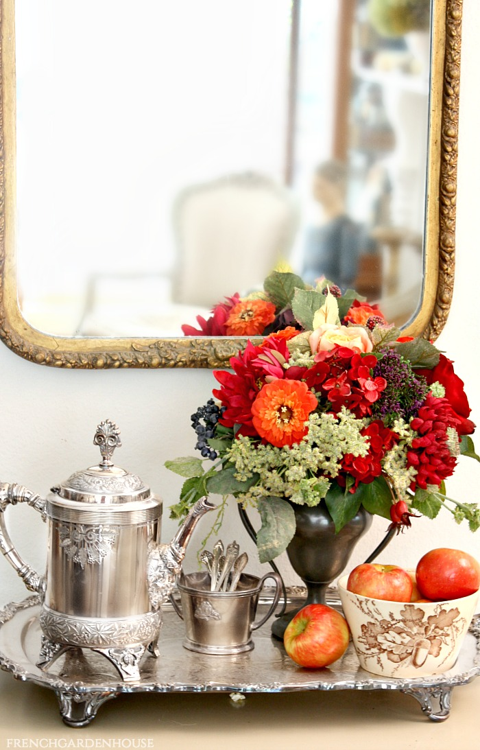 French Bourgogne Garden Rose and Hydrangea in Antique Silver Urn