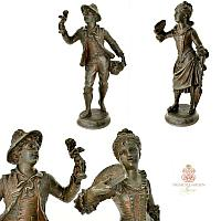 Antique French Cupid Peddler & Young Woman with Fan