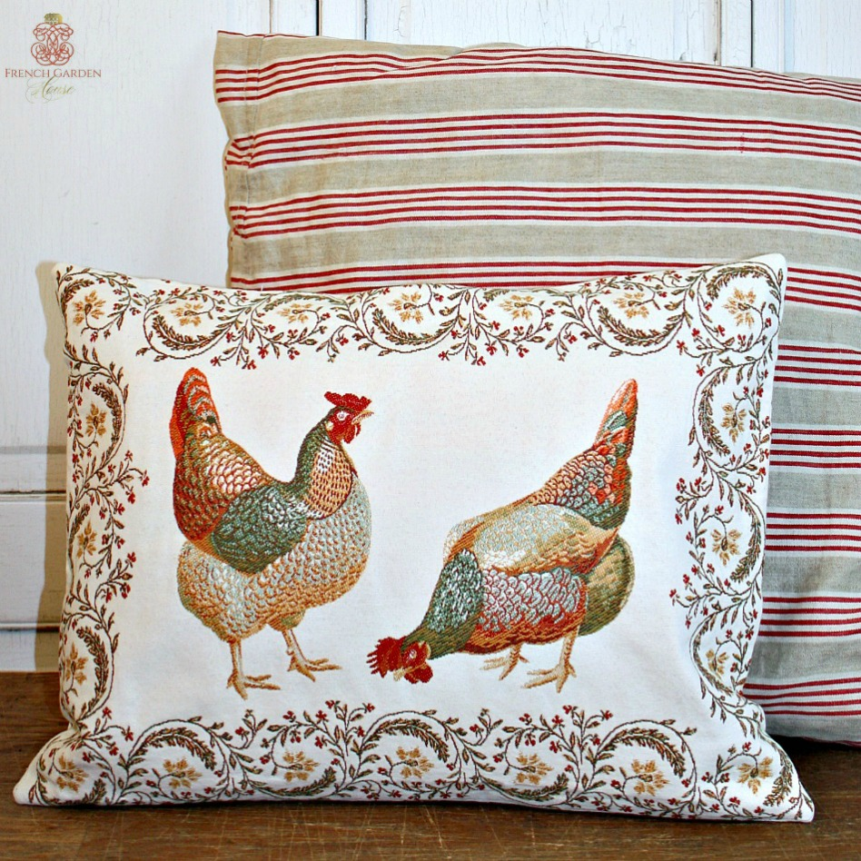 French Country Hens Pillow Cover LAST ONE