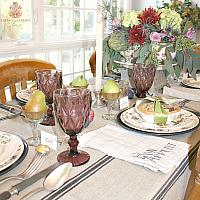 French Country Striped Linen Black & Natural Tablecloth