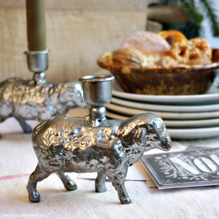 French Country Metal Sheep Candle Holder Pair