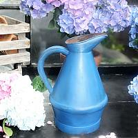 French Country Blue Painted Metal Garden Pitcher