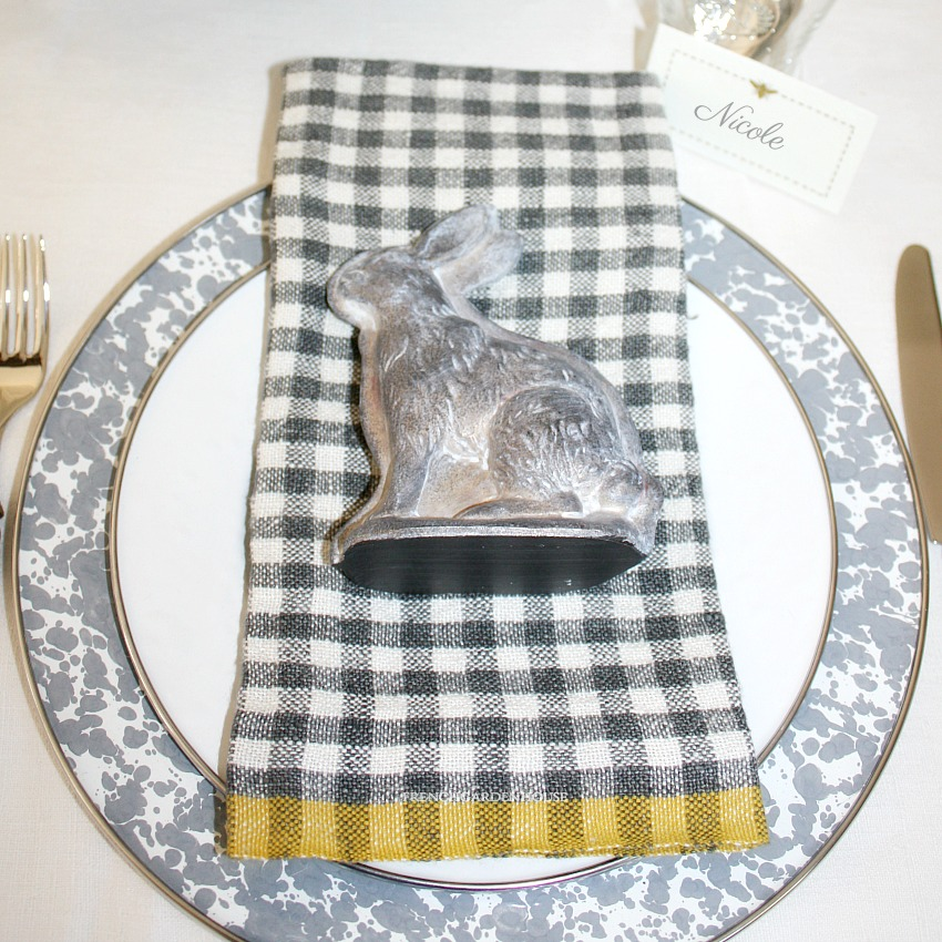 French Dijon Grey Linen Napkins Gingham Checks Set of 4