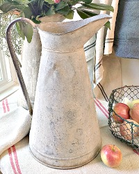 Antique French Country Zinc Water Pitcher II