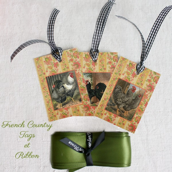 French Country Gift Tags and Ribbon Set