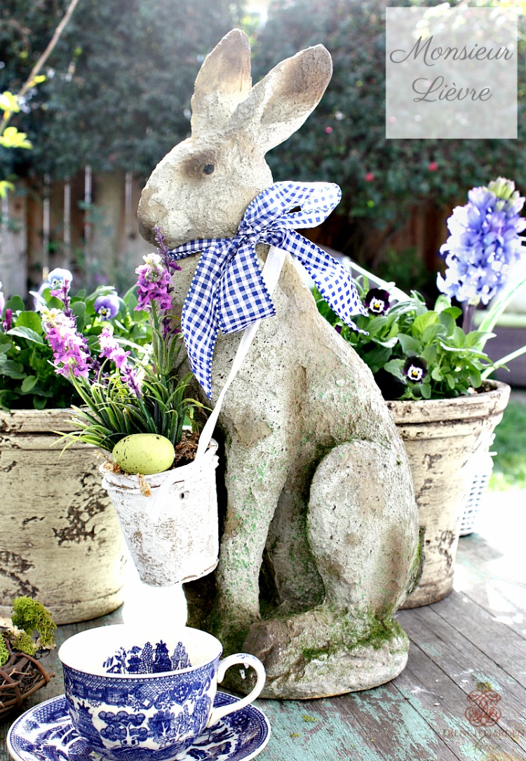 French Country Monsieur Lievre Large Standing Hare Bleu Check