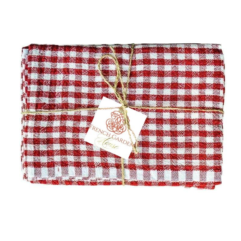 French Red & White Linen Napkins Gingham Check Set of 4