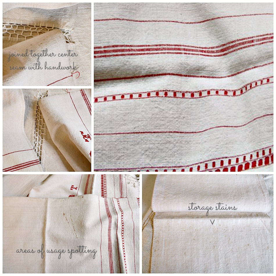 Antique French Country Linen Table Runner Red Stripes Monogram DT