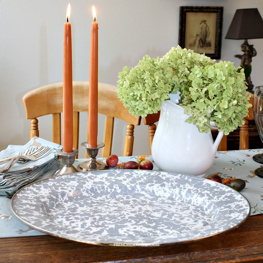 French Country Grey Porcelain Enamelware Oval Platter
