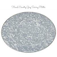 French Country Grey Porcelain Enameled Oval Platter