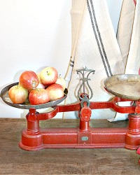Antique French Country Red Paint Balance Scale