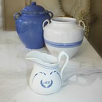 White & Blue Country Ironstone Small Pitcher Monogram