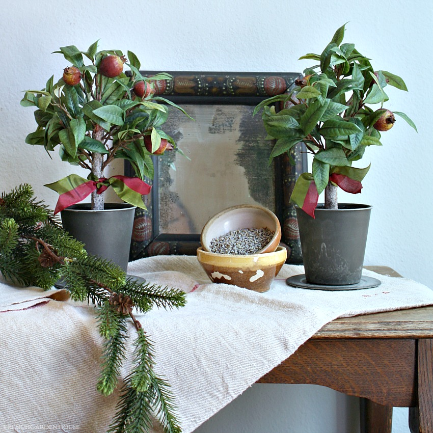 French Country Winter Pomegranate Topiary