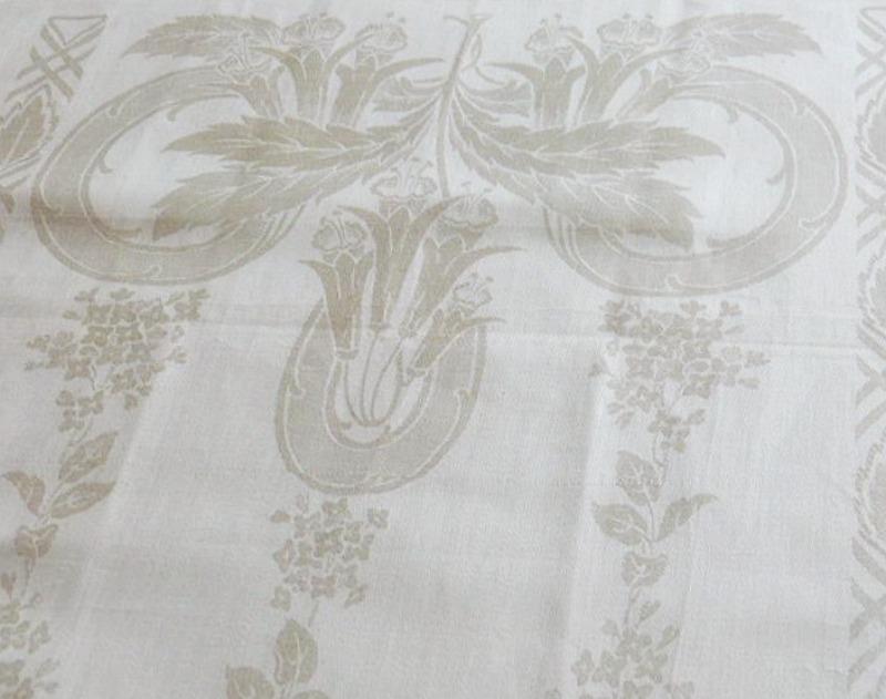 Antique Cream Floral Damask Tea Towel Fuchsia
