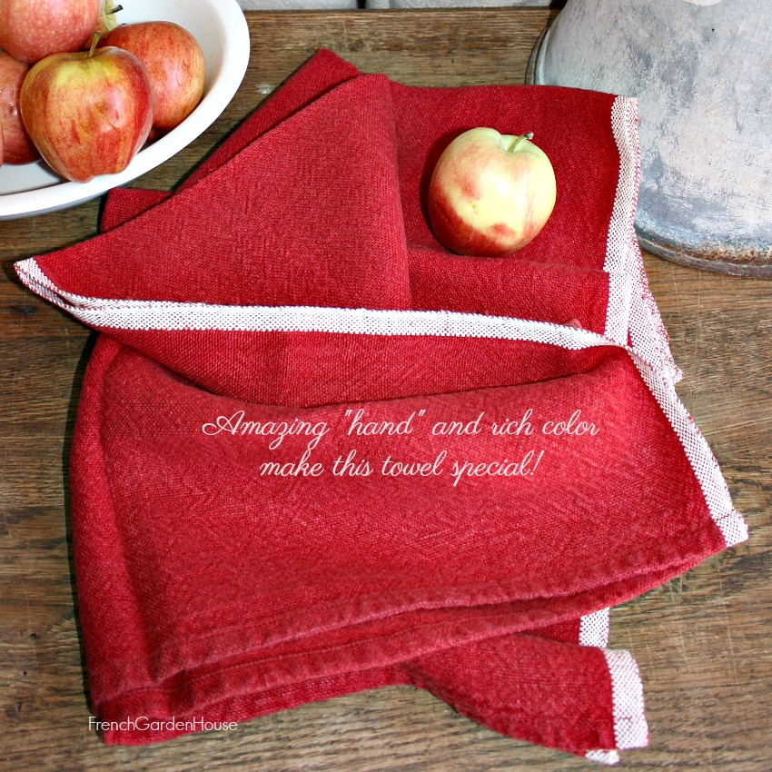 Heavy Linen French Country Style Tea Towel Rouge