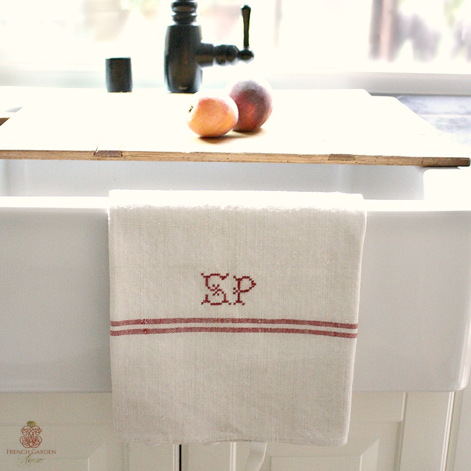 19th Century French Linen Towel Monogram S P