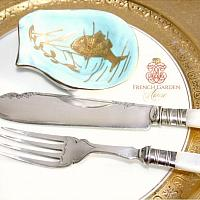 Antique English Mother of Pearl Fish Service for 6 and Serving Pieces