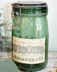 French Dark Green Glass Canning Jar Arlatte et Cie