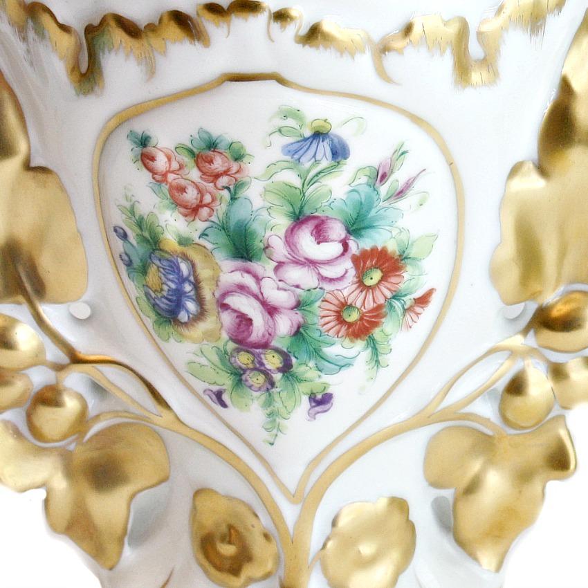 Antique Hand Painted Foliate Rose Vases Pair