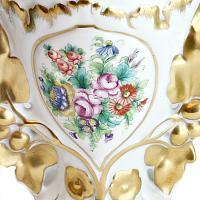 Hand Painted Foliate Rose Vases Pair