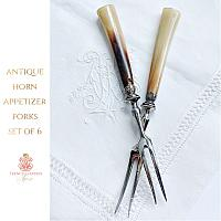 Antique Horn and Silver Appetizer Forks