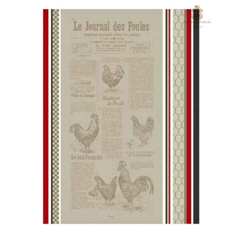 French Country Chickens Drying Tea Towel