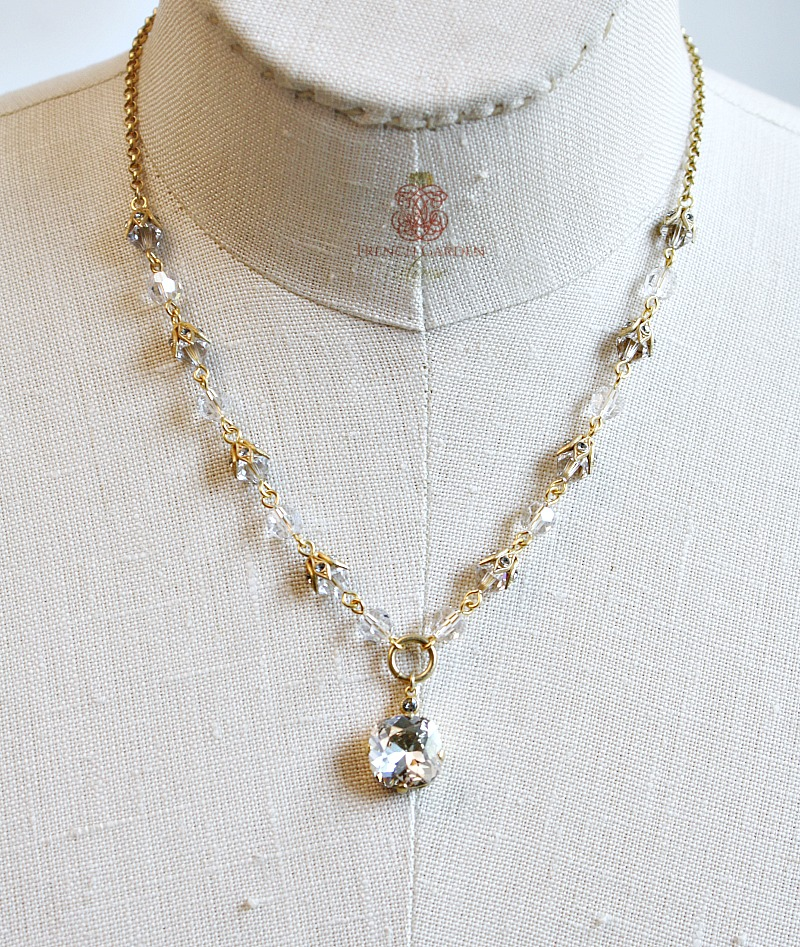 French Gold La Glace Cushion Cut Crystal Pendant Necklace