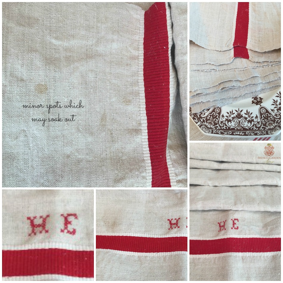 Antique French Country Linen Table Runner Red Stripes Monogram HE