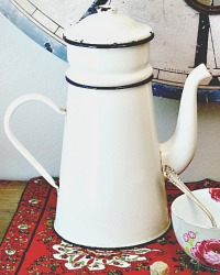 French White Enamelware Biggin Cafetiere