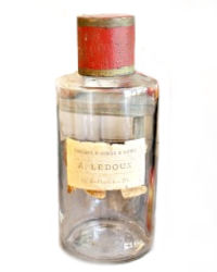 Antique French Apothecary Glass and Tole Bottle LEDOUX
