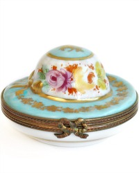 French Limoges Hand Painted Floral Miniature Hat Box
