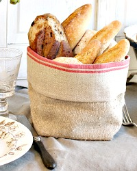 French Country Striped Linen Bread Basket