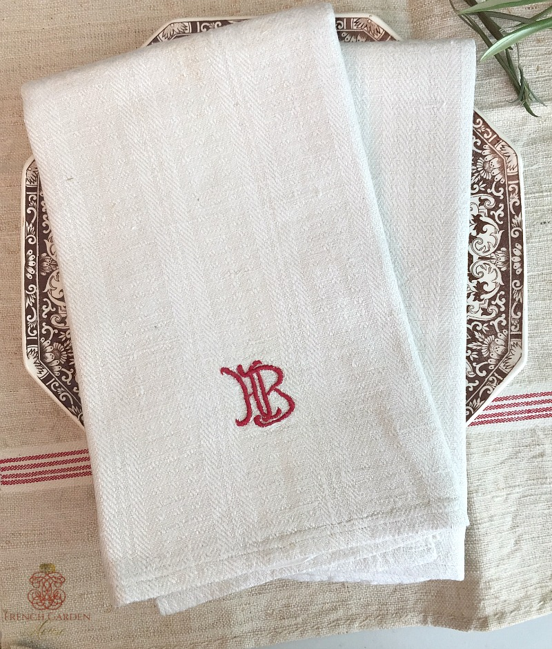 Antique French Linen Towel Red Monogram HB